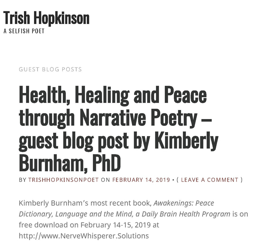 Peace Poetry & Brain Health Exercises Daily Words - KIMBERLY BURNHAM