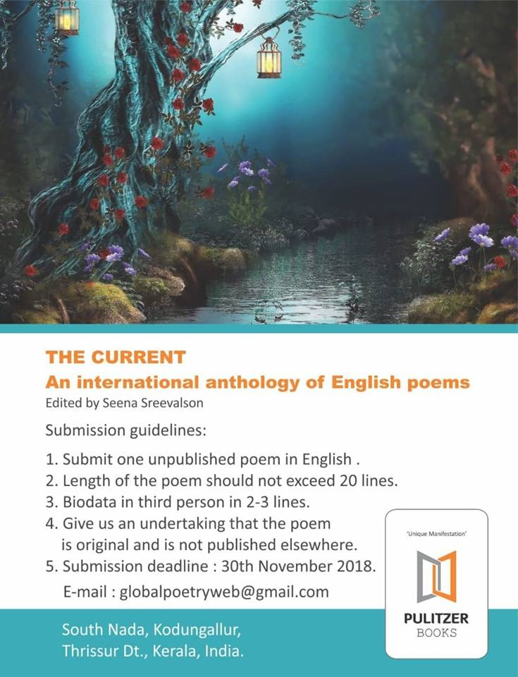 PThe Current International Anthology Prime Poetry Festival 2019 Seena Sreevalson, Editor & Curator, Poets: Padmaja Iyengar-Paddy, Dr Perugu Ramakrishna, Kylana, Dr Diti Ronen, Dr Jernail S Anand, Kimberly Burnham, hülya n. yılmaz, Nizar Sartawi and 35 poets with 171 poems from 40 nations across 6 continents including Iraq, Syria, Jordan, Tibet, India, USA, and around the globe.
